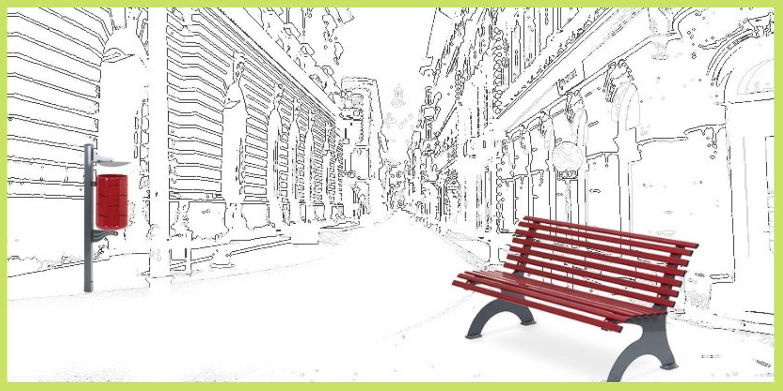 Arredo urbano. panchina e cestino per esterno